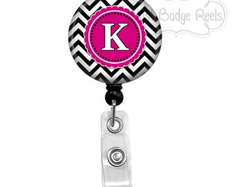 Badge Reel - Black and Pink Chevron Badge Reel - Nurse Badge Holder - Retractable Badge Reel - Initial Badge Reel - 0096