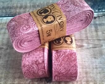Marsala Gypsy Cotton Printed Ribbon