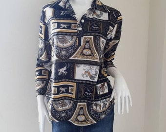 Baroque Blouse top long sleeves  women size S - M.