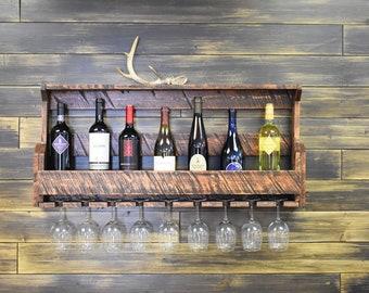 Wine Rack, Barn Wood, Wine Rack Wall Mounted, Wine Rack Shelf, Wine Rack Wood, Rustic Wall Decor, Man cave, Beer Caddy, Kitchen Storage
