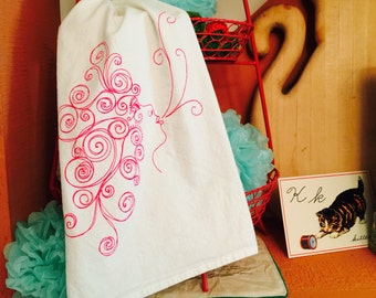 HANDMADE Large Flour Sack 'Wishes to the Wind' Hand / Tea Towel - For the Gypsy Kitchen
