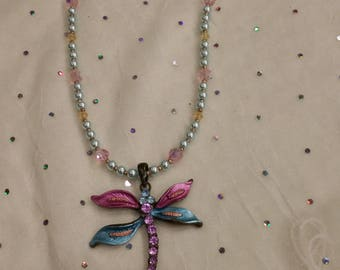 Dragonfly and Crystal Fantasy Necklace