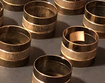 Vintage Auckey Silver and Brass Napkin Rings Set of 8