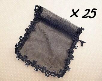 Set of 25 organza jewelry bag black 13 x 15 cm