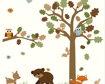 Forest decal set-WALL DECAL-Removable Wall Decal, Nursery Vinyl Wall Decals Art-06
