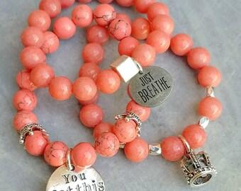 Beaded bracelets stacking bracelets gemstone bracelets charm bracelets peach bracelets arm jewelry arm candy stretch bracelets best friend