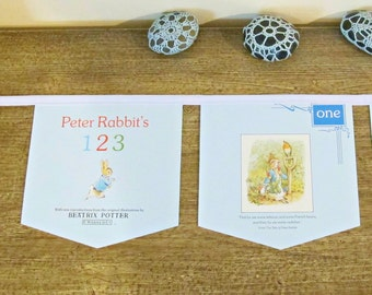 Peter Rabbit Nursery Bunting - Beatrix Potter Birthday Party Baby Shower - Garland Counting Banner Numbers Educational Bunny - Blue Decor