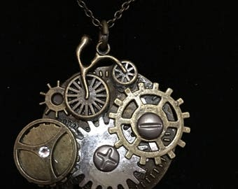 Bicycle Bike Old Fashioned Transportation Gears Time Travel Steam Punk Inspired Pendant