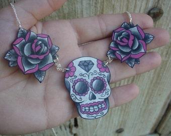 Sugar skull and Rose tattoo necklace Day of the Dead Dia de los Muertos calavera
