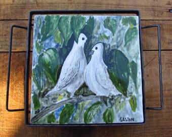 Vintage Hand Painted Bird Trivet - Dove Folk Art Tile Trivet