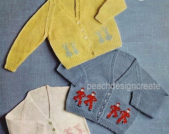 knitting pattern, girls, boys, fair isle cardigan, sizes 18-24 in, pdf, digital download, instant download