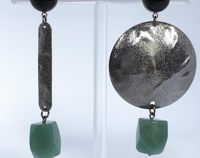 Silver drop earrings, Asymmetrical drop earrings and black agate and aventurine semi precious stones