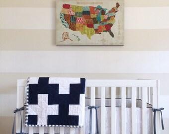 Custom Modern Plus Quilt. Baby Blanket. Baby Quilt. Modern Baby Quilt. Navy Baby Blanket.