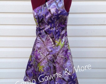 Purple Camo One Shoulder Dress