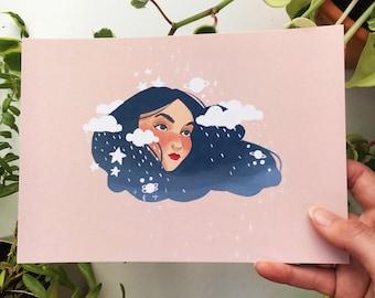 Rainy Hair Girl Print A5