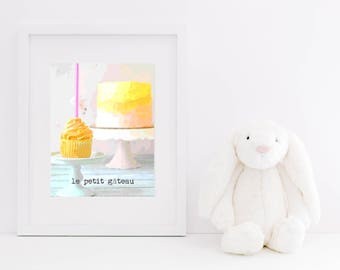 Le Petit Gateau Cake Digital Art - Instant Download, French Typography, Cupcake, First Birthday Cake, Nursery Decor, Smash Cake Photography