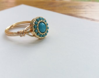Turquoise and Gold Bead Wire Wrapped Ring - handmade
