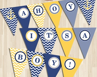 Instant  download Nautical Baby Shower Banner. Yellow and Blue chevron. Digital Printable