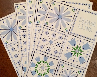 Vintage Hallmark Blue and Green Party Invitations, Winter Theme, Snowflake, Stars, Tulips, Eight Invites,  New Old Stock