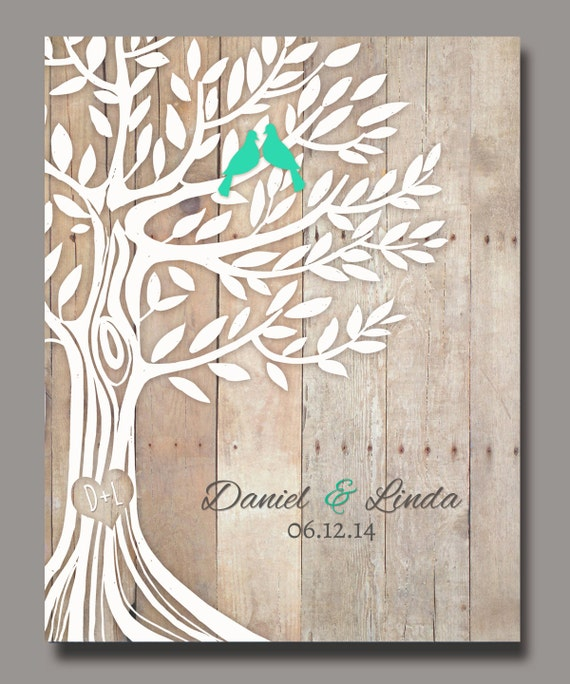 Personalized wedding gift love birds in tree newly weds gift negle Choice Image