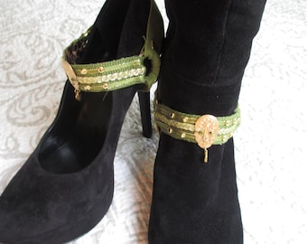 Boot Straps Shoe Jewelry Olive Gold Tone Studded Interchangeable