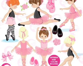 Ballerina clipart, Ballet clipart, pink ballerina, girl dancing, commercial use,  instant download, AMB-1306