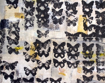 Shadow Of My Former Shadow - Butterflies Moths Photo Transfer 30 x 30 Inches