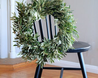 White Statice and Olive Wreath   Spring Wreath   Wreaths for Front Door   Statice Wreath   Door Wreath   Housewarming Gifts   Mother's Day