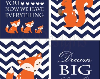 Fox Nursery Art, Woodland Nursery Prints, Boy Nursery Decor, Orange and Navy Blue Nursery, Fox Nursery Decor, Woodland Nursery Decor