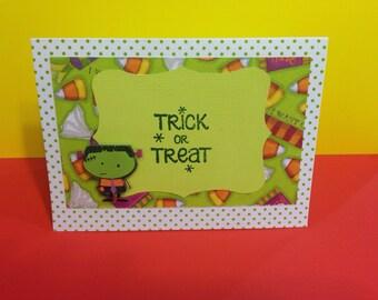 Trick or Treat Halloween Card- Frankenstein