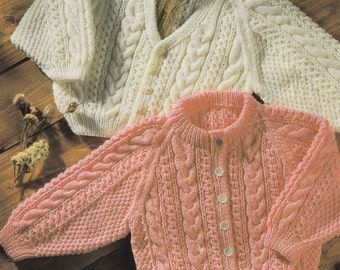 knitting pattern PDF for baby cable cardigans in dk yarn 16-22 inches