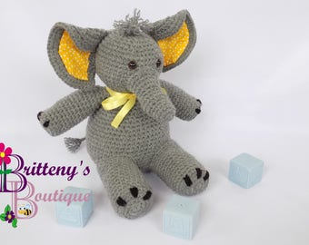 Stuffed Elephant  Musical Elephant  Musical Stuffed Elephant  Gray Stuffed Elephant  Baby Decor Stuffed Elephant  Gray Baby Elephant