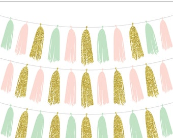 Mint, Pink and Gold Tassel Garland Digital Clip Art - Commercial Use, Gold Glitter, Sparkle, Bunting, Wedding, Decoration, Instant Download