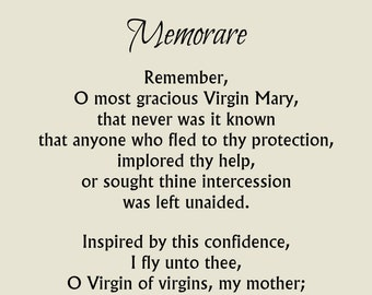 Memorare Prayer Print, Blessed Virgin Mary, Catholic Prayer, Catholic Print, Intercession Prayer, Marian Devotion