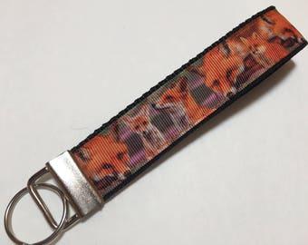 Orange Fox Key Fob Keychain wristlet