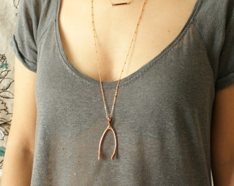 Rose gold wishbone necklace, statement necklace life size wishbone pendant in pink gold, large rose gold wishbone necklace