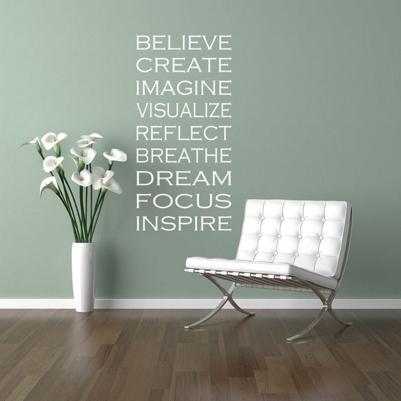 Wall Decal Words of Inspiration, Meditation, Yoga Decals, Subway Art, Typography