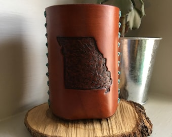 Missouri Leather Can Cooler
