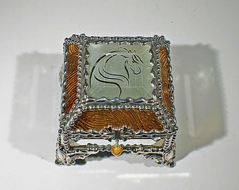 Etched Equine Glass Treasure Box