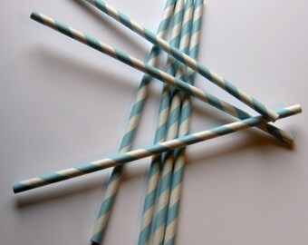 25 Paper Baby Blue & White Striped Straws - Free Printable Straw Flags