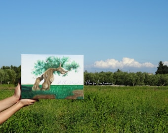 Oil painting, olive tree is realistic, painted puglia, hand painted