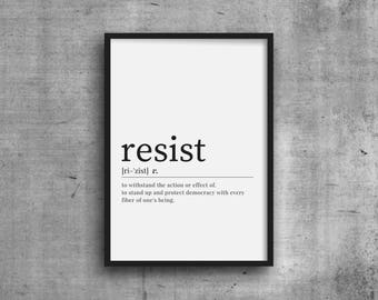 Resist Definition Print - DIGITAL DOWNLOAD - Resist Dictionary Definition Wall Art - Instant Download Gift - Resistance Printable Wall Art