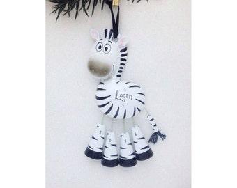 Zebra Personalized Christmas Ornament - Zoo Animal Ornament - Hand Personalized Christmas Ornament