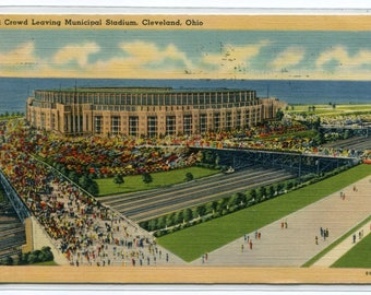 Municipal Football Stadium Cleveland Ohio 1943 linen postcard