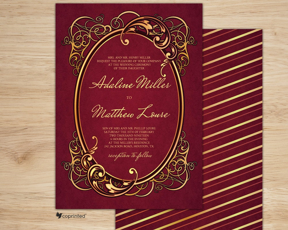 Red Wedding Invitation Red Velvet Wedding Invitation Vintage