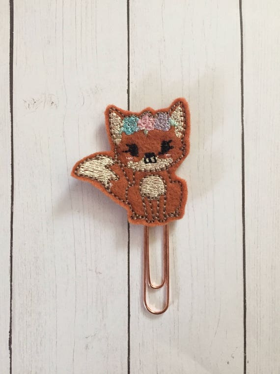 Fox with flowers Clip/Planner Clip/Bookmark. Woodland Fox Planner Clip. Fox Planner Clip. Floral Planner Clip