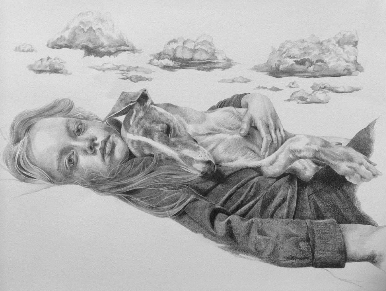 29x42cm cloudbursting original au crayon dessin enfant - Nuage en dessin ...