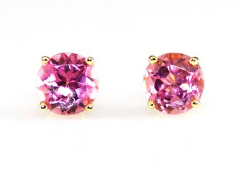 Pink Tourmaline 14K Solid Yellow Gold Stud Earrings 6mm