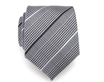 Mens Tie - cravatta di seta Plaid bianco e nero