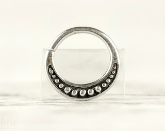 Septum Ring Moon Phase Celestial Nose Ring Sterling Silver Bohemian Body Jewelry Fashion Indian Style 14g 16g - SE026SSO ***